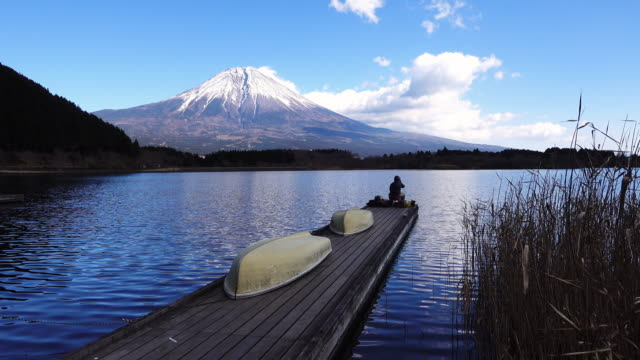 mt. fuji over lake tanuki - shizuoka prefecture stock videos and b-roll footage