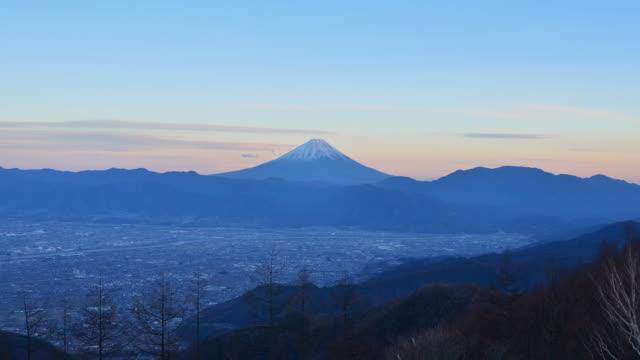 mt. fuji over the kofu basin from mt. amari - jp201806 stock videos and b-roll footage