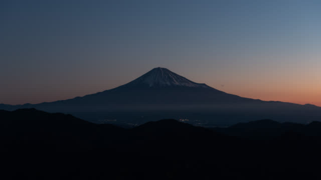 mt. fuji over the mountains at dawn - satoyama scenery stock videos & royalty-free footage