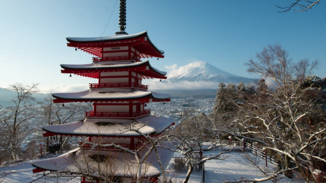 mt. fuji over the pagoda in snow - national landmark stock videos & royalty-free footage