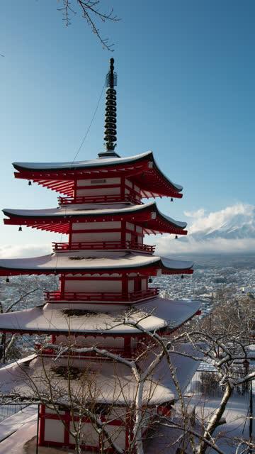 Mt. Fuji over the Pagoda in Snow
