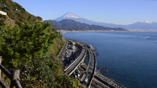 mt. fuji over the suruga bay and tomei expressway - shizuoka prefecture stock videos and b-roll footage