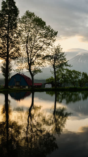 Mt. Fuji Reflected in a Pond in the Morning