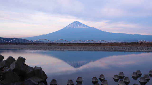 Mt. Fuji Reflected in Fujikawa River