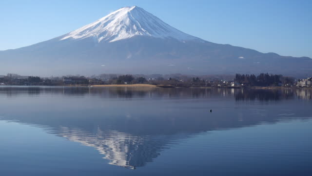 Mt. Fuji Reflected in Lake Kawaguchi in a Morning