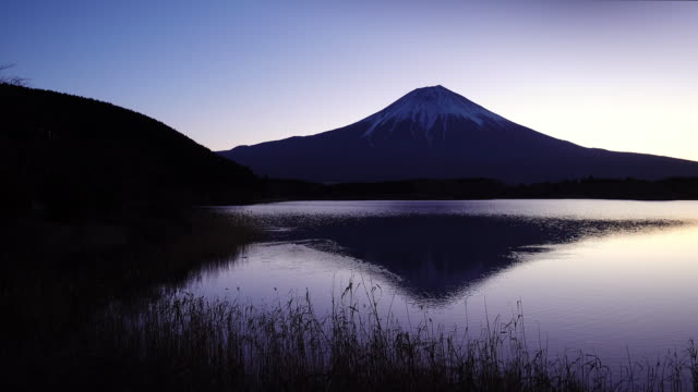 Mt. Fuji Reflected in Lake Tanuki at Dawn