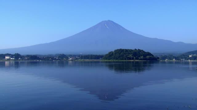 Mt. Fuji reflected on surface of lake