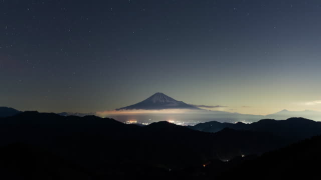 mt. fuji under the stars during the meteor shower - meteor shower stock videos and b-roll footage