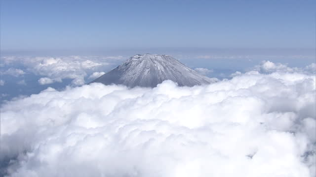 aerial, mt fuji with first snowcap, shizuoka, japan - occurrence stock videos & royalty-free footage