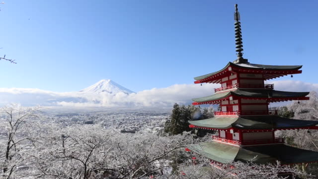 mt. fuji with red pagoda in winter, fujiyoshida, japan - pagoda stock videos and b-roll footage