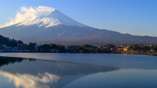 mt. fuji with reflection from lake kawaguchi - non us location stock videos & royalty-free footage