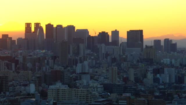 Mt. Fuji with the city building before sunset