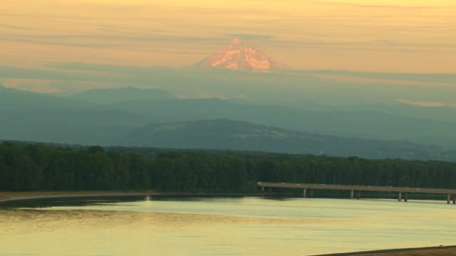 WS AERIAL Mt Hood colored pink by sunset / Oregon, United States