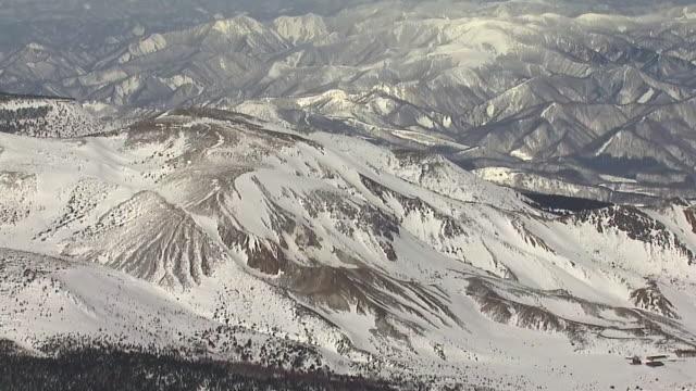 stockvideo's en b-roll-footage met aerial, mt issaikyo of azuma mountains, fukushima, japan - active volcano