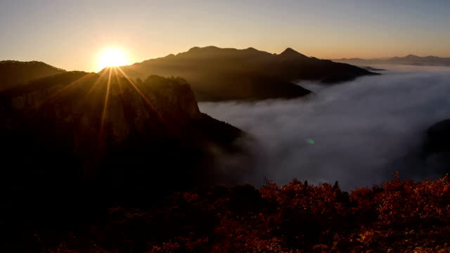 mt juwangsan at sunrise - north gyeongsang province stock videos and b-roll footage