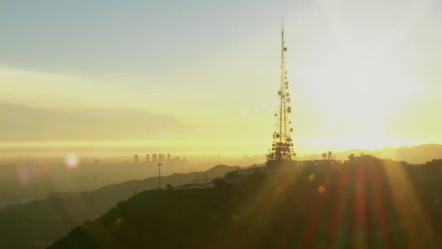 mt lee radio tower at golden hour - communications tower stock videos & royalty-free footage