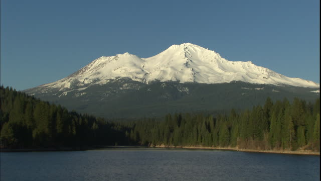 Mt. Shasta looms over Lake Siskiyou in Northern California.