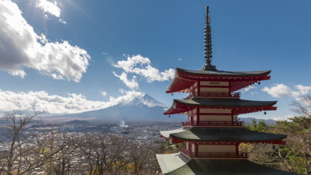 mt.fuji with red pagoda time lapse - shrine stock videos and b-roll footage