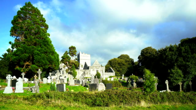 muckross abbey in killarney national park - old ruin stock videos and b-roll footage