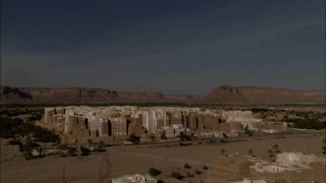 mud brick high rises fill the town of shibam yemen. - yemen stock videos & royalty-free footage