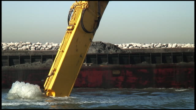(HD1080) Mud Dredged, Dug, Scooped -- Dropped, Dumped On Barge