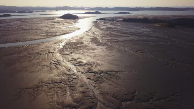 mud flat of western sea (yellow sea), south korea - mud flat stock videos & royalty-free footage