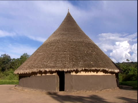 mud hut with conical roof in small settlement amazon rainforest venezuela - kegel stock-videos und b-roll-filmmaterial