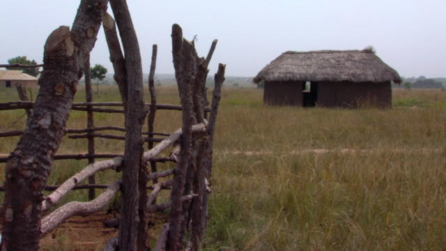 ms mud hut with thatched roof with stick fence in foreground, tamale, ghana - strohdach stock-videos und b-roll-filmmaterial
