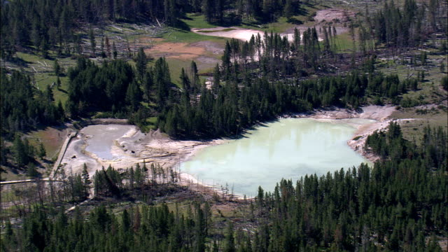 Mud Volcano And Black Dragons Caldron  - Aerial View - Wyoming,  Park County,  helicopter filming,  aerial video,  cineflex,  establishing shot,  United States