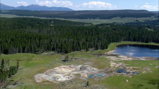 Mud Volcano And Black Dragon's Caldron  - Aerial View - Wyoming,  Park County,  helicopter filming,  aerial video,  cineflex,  establishing shot,  United States