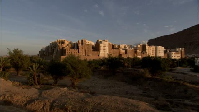 Mud-brick buildings rise above the dry desert floor in the town of Shibam in Yemen.