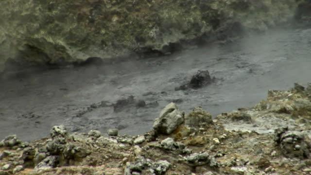 cu muddy lava boiling in volcano / saint lucia - kelly mason videos stock videos & royalty-free footage