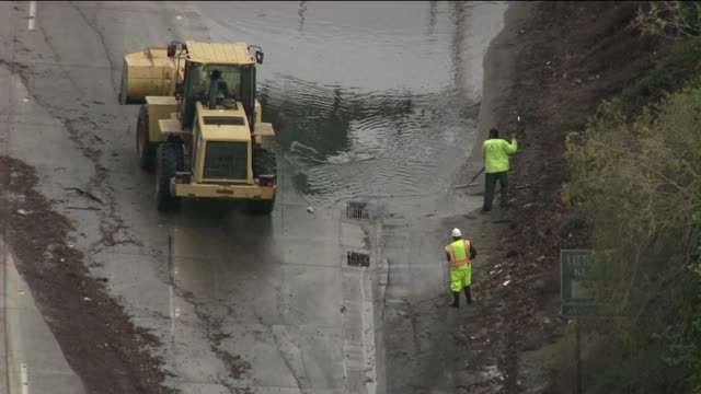 Mudslide Causes Shutdown of Major California Freeway on October 09 2013 in Los Angeles California