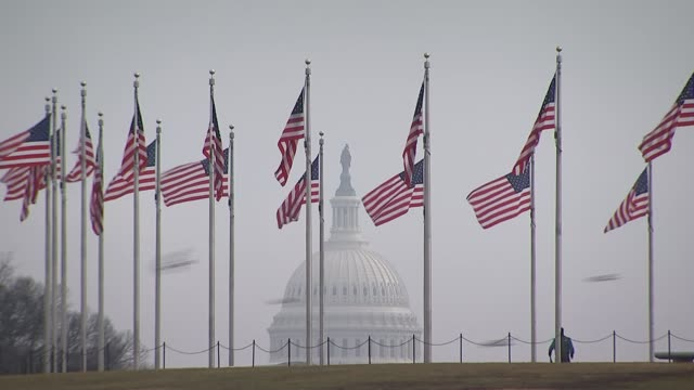 mueller report clears donald trump of collusion with russia in 2016 usa washington ext us flags flying on flagpoles with us capitol in background... - washington dc stock videos & royalty-free footage