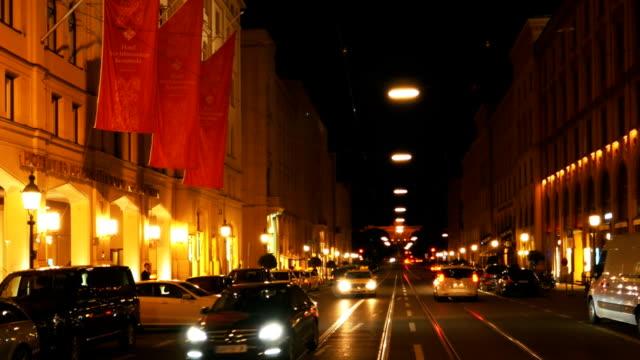Muenchen Maximilianstrasse And Hotel Vier Jahreszeiten Kempinski At Night (4K/UHD to HD)