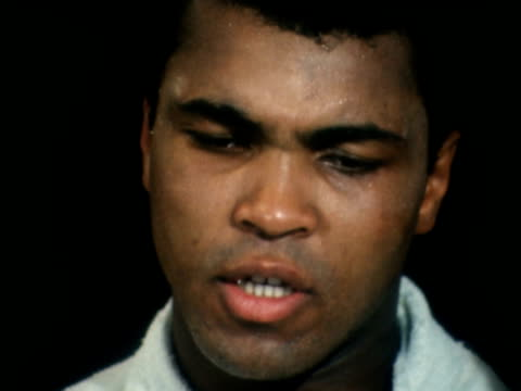 """muhammad ali interview ahead of jerry quarry fight; usa: nevada: las vegas: int muhammad ali : sof: """"she don't worry . . . unless i'm fighting"""": col... - las vegas stock videos & royalty-free footage"""