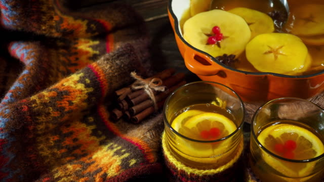 mulled apple cider in autumn - homemade stock videos & royalty-free footage