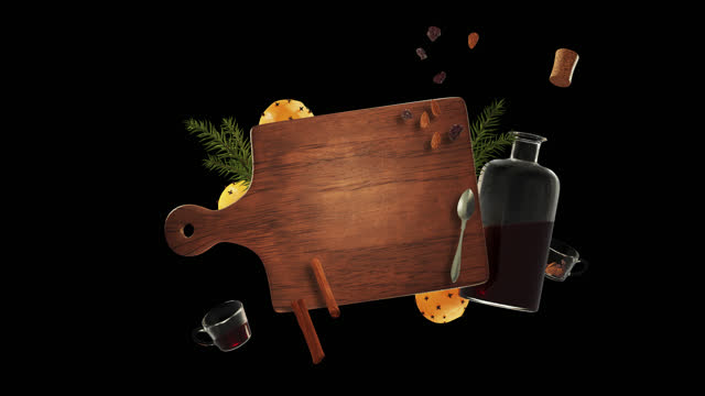 mulled wine christmas background - with alpha channel - chopping board stock videos & royalty-free footage