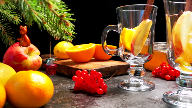 mulled wine glasses on christmas table - tangerine stock videos and b-roll footage