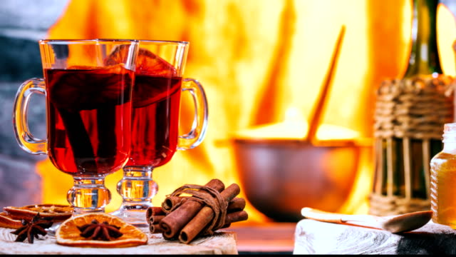 mulled wine near the hearth - hearth oven stock videos & royalty-free footage