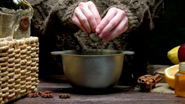 mulled wine preparing - cinnamon stock videos & royalty-free footage