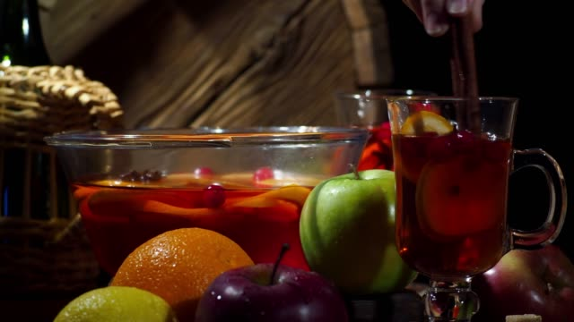 mulled wine - cranberry stock videos & royalty-free footage