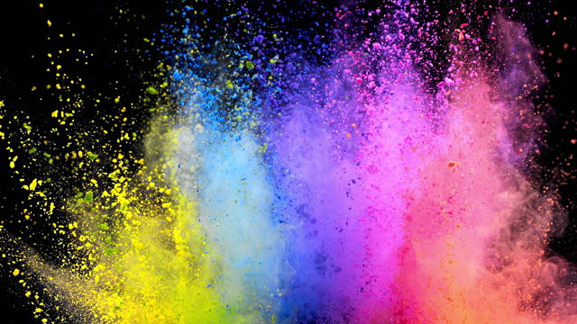 multi color powder explosion super slow motion - black background stock videos & royalty-free footage