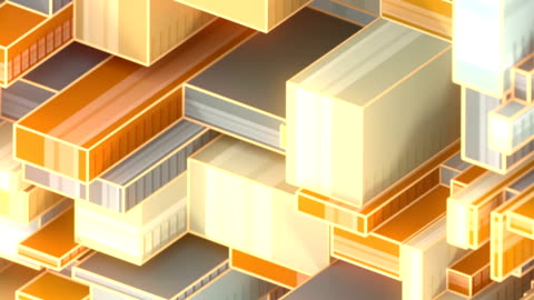 現代様式の未来的な背景の多色の抽象的な産業構造。デジタル ループ アニメーション。3d レンダリング hd 解像度 - 投影図点の映像素材/bロール