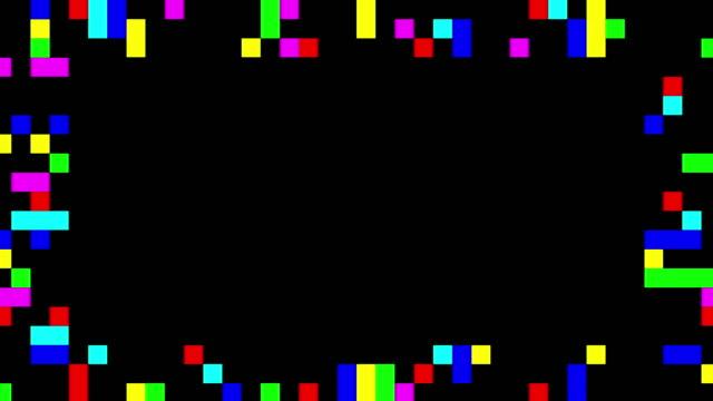 vídeos de stock e filmes b-roll de multi colored blinking squares frame - quadriculado