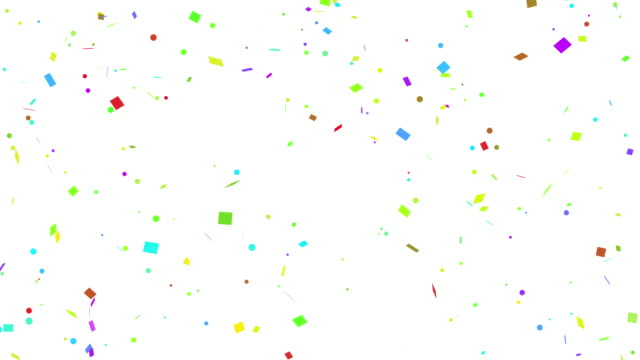 multi colored confetti falling on white, black, isolated and green screen background - ornate stock videos & royalty-free footage
