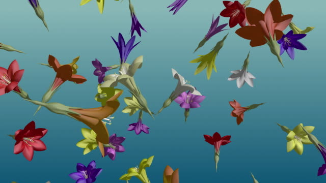 cgi cu multi colored flowers falling and spinning on blue background / greece - pistil stock videos & royalty-free footage