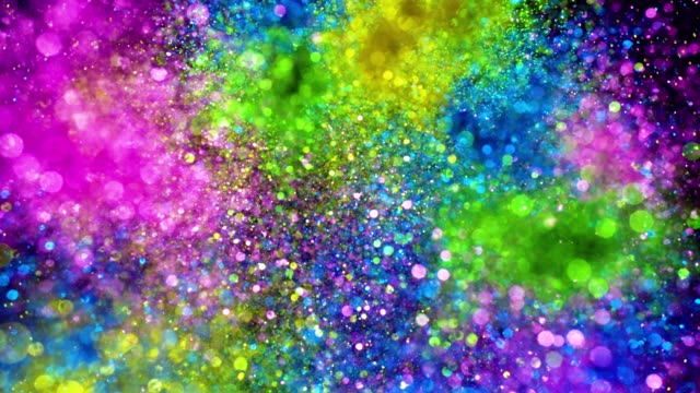 multi colored glitter exploding towards camera and becoming defocused, shining bokeh on black background - fiesta background stock videos & royalty-free footage