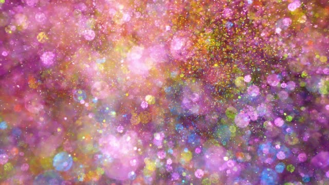 vídeos de stock e filmes b-roll de multi colored glitter exploding towards camera and becoming defocused, shining bokeh on black background - explodir