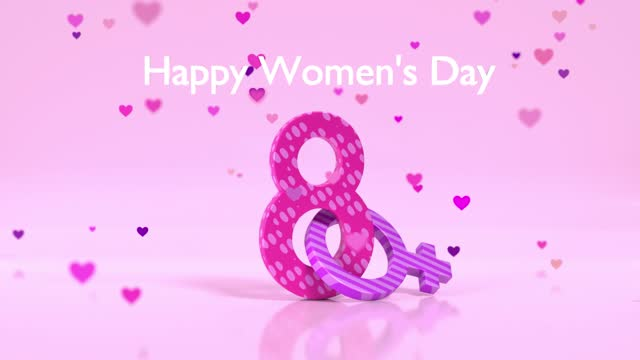 multi colored number 8 with hearts falling to celebrate 8 march international women's day with female symbol animation in 4k resolution - number 8 stock videos & royalty-free footage